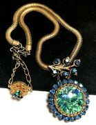 Rare Vintage 18 Signed Miriam Haskell Gilt Blue Green Art Glass R/s Necklace