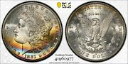 1881-s Morgan Silver Dollar Pcgs Gold Shield Ms66 Cac Approved Crescent Rainbow