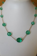 Absolutely Beautiful 9 Ct Gold Antique Turquoise Green Crystal Necklace