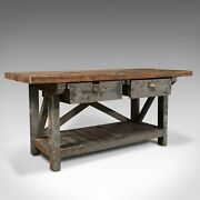 Large Antique Silversmithand039s Bench English Pine Craftsmanand039s Table Victorian