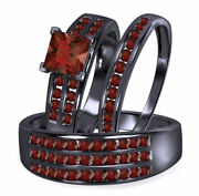 14k Black Gold Finish 4.00 Ct Red Garnet His And Her Bridal Trio Wedding Ring Sets