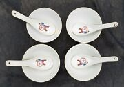 """Vtg Chinese Japanese Rice Soup Bowl 4.5"""" And Spoons - Man Holding Crest, Set Of 4"""