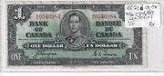 Mogi9 Canada Bc-21d Vf 1937 One 1 Dollar Paper Money Note W/n 054 Low Series