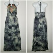 Flying Tomato Adorable Gray Tie Dye, Neon Embroidered Halter Maxi Dress, Xs
