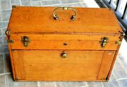 Vintage Oak Machinist Tool Box Or Collectibles Storage