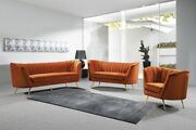 2pc Living Room Furniture Set Cognac Velvet Sofa And Loveseat Round Back And Arms