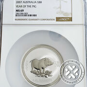 2007 Ngc Ms 69 8 Australia Lunar Series I Year Of The Pig 5 Oz. Silver Coin