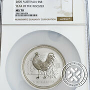 2005 Ngc Ms70 8 Australia Lunar Series I Year Of The Rooster 5 Oz. Silver Coin