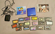 Nintendo Gameboy Advance Blue Bundle Lot 18 Games 2 Manuals And Charger