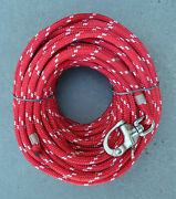 3/8 X 120ft. Red/white Dac/polyester Halyard Spliced In S/s Snap Shackle Usa