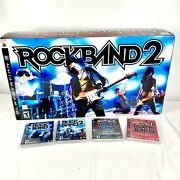 Playstation 3 Ps3 Rock Band 2 Special Edition Bundle In Box W/ 4 Games Euc