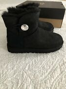 Ugg Classic Mini Bailey Button Bling Crystal Black Boots Size 7 New
