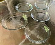 """5 Fire King Philbe Sapphire Blue1-9 5/8"""",3-8 3/8 Pie Plates And 1-pie Plate/cover"""