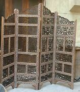 Handmade Carving Wood Room Divider Screen Inlaid Mother Of Pearl