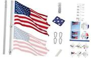 Upgraded 30 Ft Telescopic Flag Pole Kit 16 Gauge Extra Thick Heavy Duty 30ft