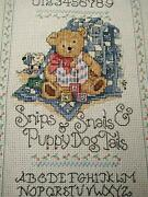 Charming Teddy Bear Sampler And Verse Vintage Cross-stitch Completed Panel