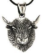 Bison Buffalo Skull 925 Sterling Silver Pendant With Band / Chain 277