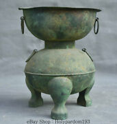 8 Chinese Old Antique Bronze Ware Dynasty Palace 3 Foot 2 Layer Pot Jar Crock