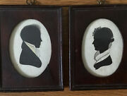 Pr Early 19th C Framed Silhouettes Possibly By Maine Artist