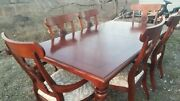 Ethan Allen British Classics Dining Set 29-6400 Carved Cinnabar Table 6 Chairs
