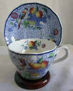 Vintage Copeland Spodeand039s George Iii Cup And Saucer Blue Floral Fruit Bird England