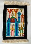 Vintage Woven Tapestry Wall Hanging Tunisia Africa Morocco Ethnic Figures 1970
