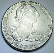 1778 Xf Mexico Silver 8 Reales Antique 1700s Spanish Colonial Pirate Dollar Coin