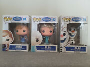 Funko Pop 3-set 79 Olaf And 81 Anna And 82 Elsa Disney Frozen Collectibles