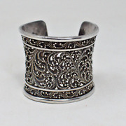 Lois Hill Bali Indonesia Granulated Sterling Silver Wide Bangle Cuff Bracelet