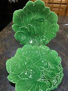 Set Of 2 Vintage Green Maple Leaf Cabbage Type Plates Made In Italy