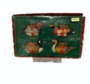 1983 Enesco Water Fowl Ducks And Geese Christmas Ornament Set Of 4