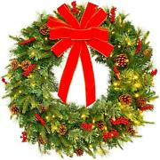 Pre-lit Battery Powered Christmas Wreath Pvc Tips With Led Lights And Riboon New