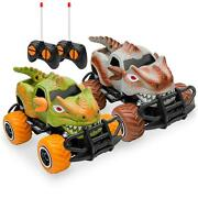 Kids Mini Toy Dinosaur Rc Remote Control Cars Set Of 2 27mhz With 9mph Max Speed