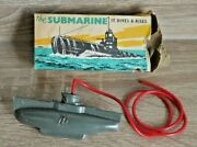 Vintage Tresco The Submarine 1950and039s Diving Toy Rare Boxed Made In England K427