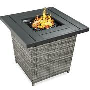 28 Inch Fire Pit Table 50000 Btu Wicker Propane With Faux Wood Tabletop And Cover