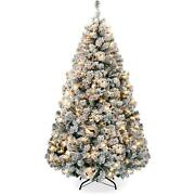 Pre-lit Artificial Pine Christmas Tree Snow Flocked Decor With Warm White Lights