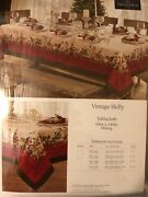 Villeroy And Boch Vintage Holly Christmas Fabric Tablecloth 60 X 144andrdquo Oblong