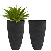 Tall Planters Outdoor Indoor - Specked Black Flower Plant Pots, 20 Inch Set O...