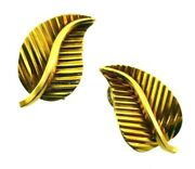 Gubelin Swiss 18k Yellow Gold Leaf Clip On Earrings Vintage And Rare