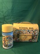 Vintage Aladdin Metal Lunch Boxes With Thermos Walt Disney School Bus