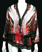 Roberto Cavalli Multi-color Floral Silk Tie Front Cinched Waist Blouse 40