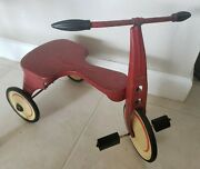 Rare Vintage 1930and039s Turner Toys Pressed Steel Trike Bike White And Red
