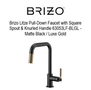 New Brizo Litze Pull-down Faucet W/ Square Spout And Knurled Handle 63053lf-blgl