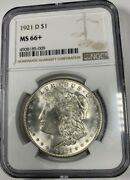 1921-d Silver Peace Dollar Ngc Ms66+ Registry Quality Blast White