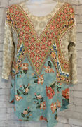 Inoah Womens Small Art To Wear Pullover Tunic Blouse Multicolor 3/4 Sleeve