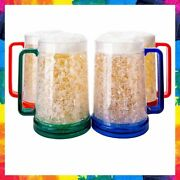 Freezer Beer Mugs With Gel Handle Double Wall Multi 16 Ounce Set Of 4 Granatan