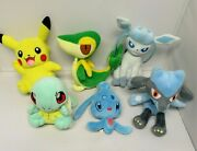 Pokemon Plush Lot Of 6 Pikachu Riolu Glaceon Manaphy Squirtle Snivy Tomy