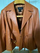 Terry Lewis Classic Luxuries Women 1x Orange Brown Leather Button-down Jacket