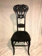 Antique Chair North Wind-face, Carved High-back Wooden Chair
