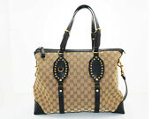 Gg2way Shoulder Beige Black Canvas Calf From Japan Collection Shippingfree